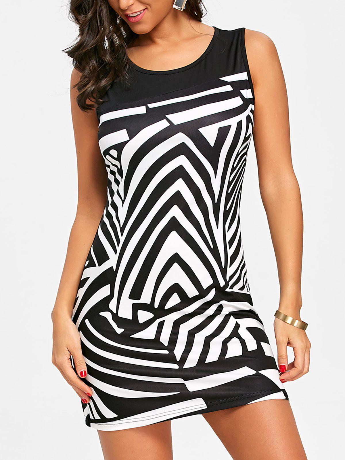Abstract Geometric Printed Straight Dress - BLACK M
