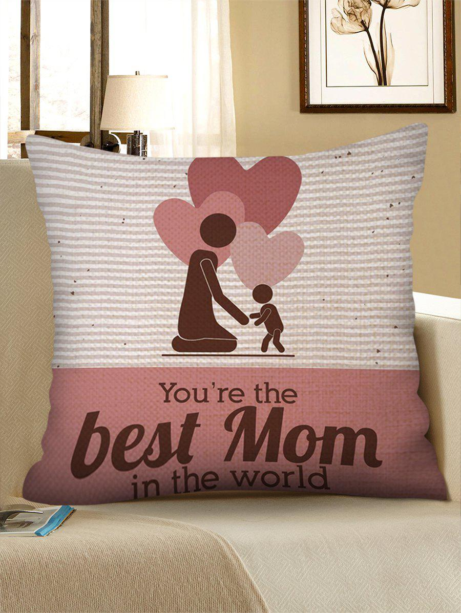 Mother's Day Gift Hearts Mother and Son Patterned Pillow Case - LIGHT PINK W18 INCH * L18 INCH