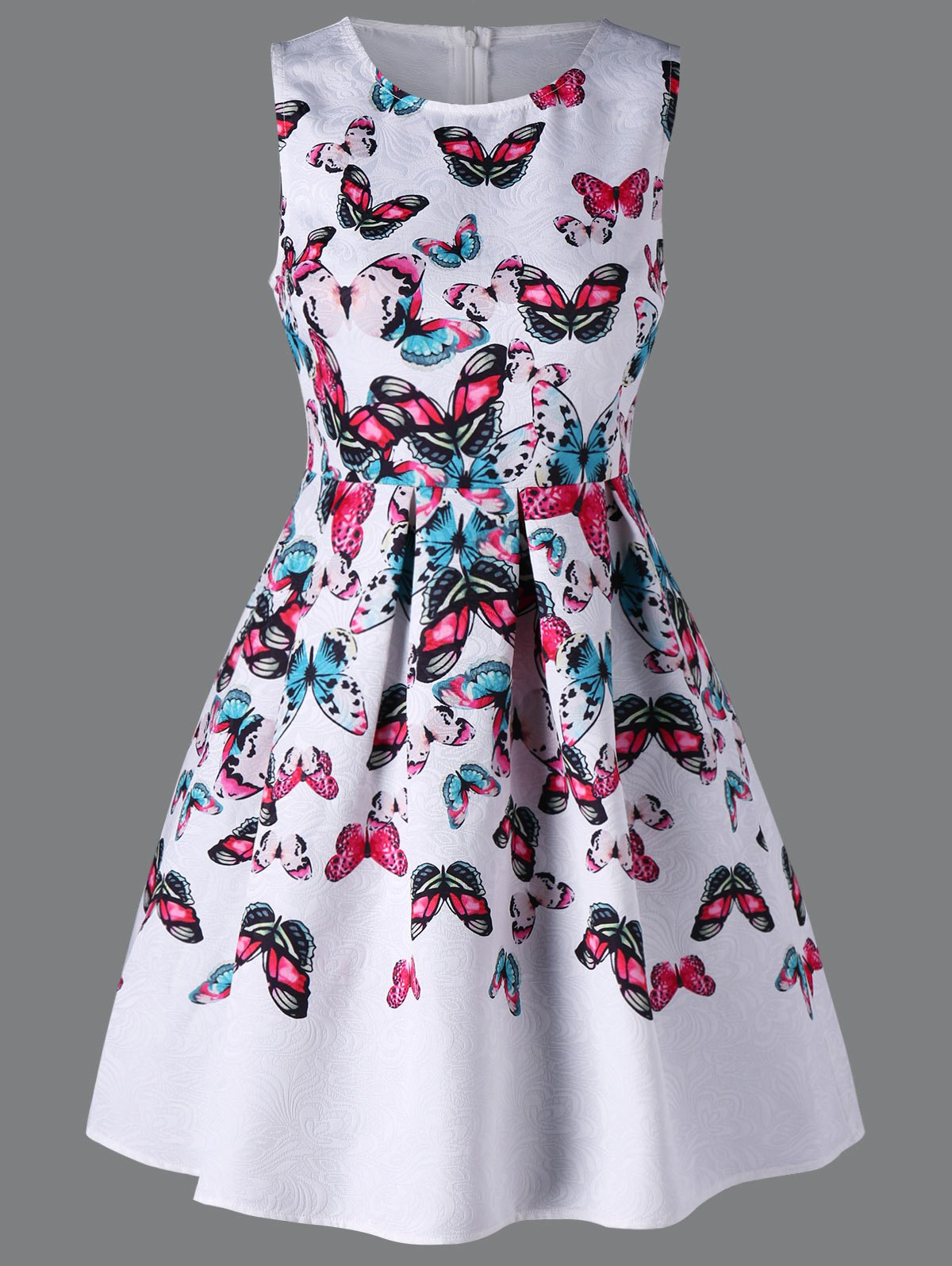 Sleeveless Butterfly Dress - WHITE M