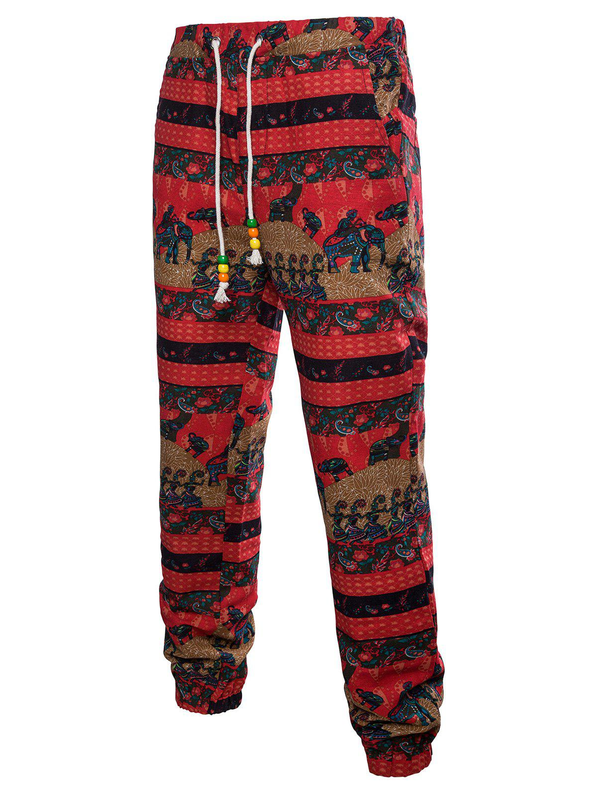 Sport Drawstring Ethnic Elephant Striped Print Sweatpants - multicolor L