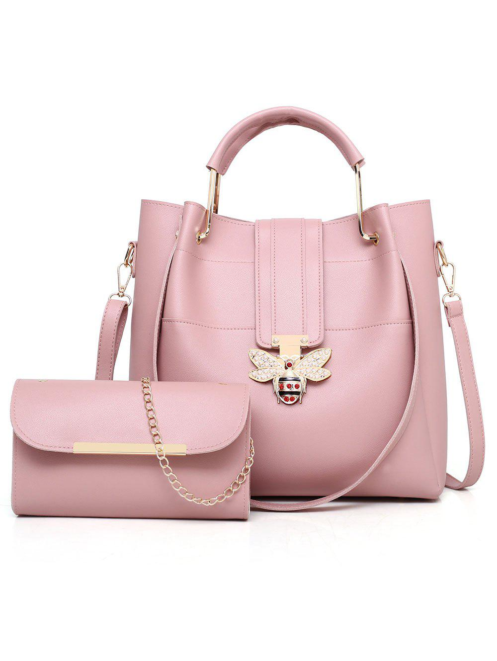 2 Pieces Bee Pattern Closure Embellished Handbag Crossbody Bag Set - PINK