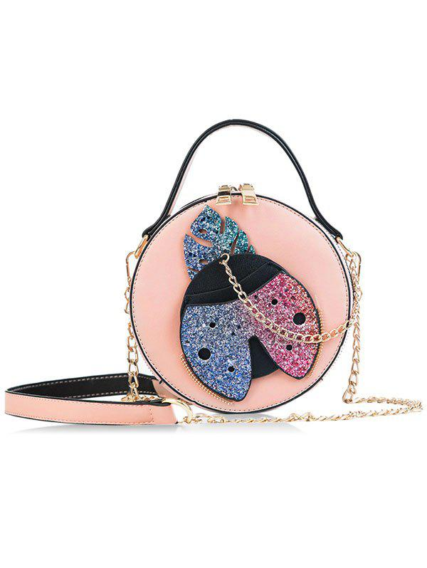 Round Shape Shining Ladybud Decor Chain Crossbody Bag - PINK