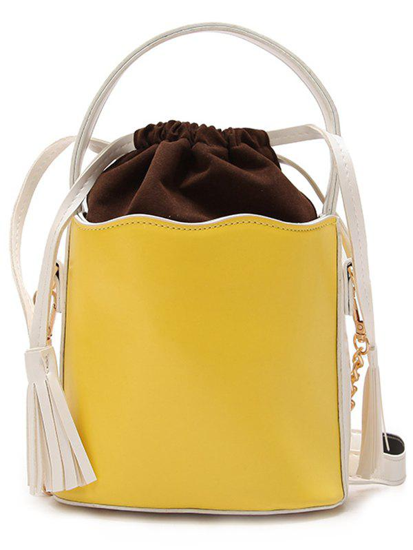 PU Leather Tassel String Bucket Bag - CANTALOUPE