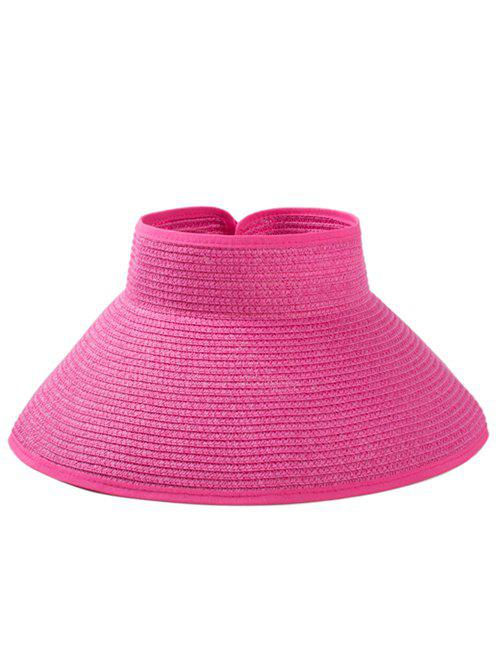 Solid Color Hollow Out Foldable Straw Hat - ROSE RED