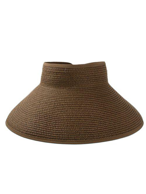 Solid Color Hollow Out Foldable Straw Hat - COFFEE