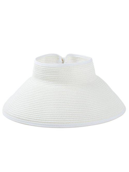 Solid Color Hollow Out Foldable Straw Hat - WHITE