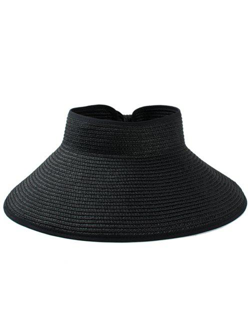 Solid Color Hollow Out Foldable Straw Hat - BLACK