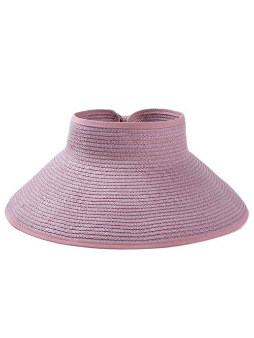 Solid Color Hollow Out Foldable Straw Hat - MAUVE