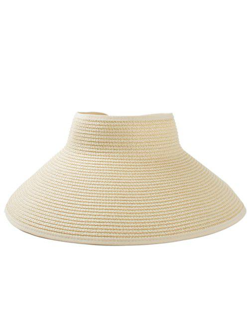 Solid Color Hollow Out Foldable Straw Hat - BEIGE