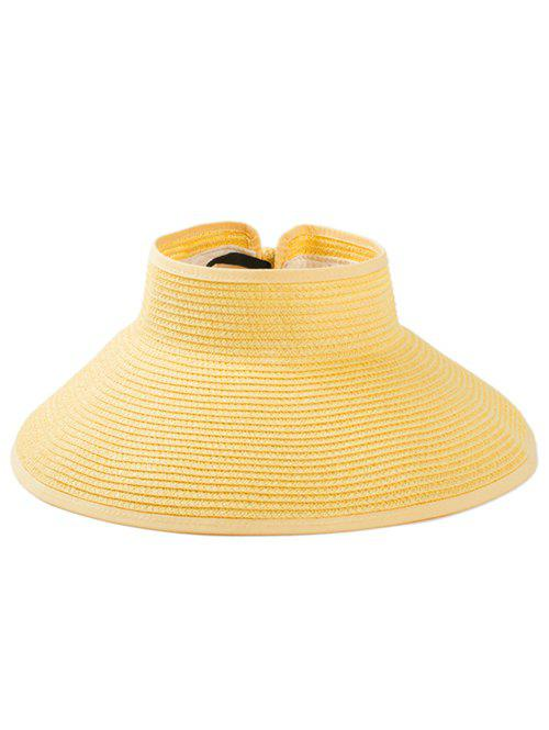 Solid Color Hollow Out Foldable Straw Hat - SUN YELLOW