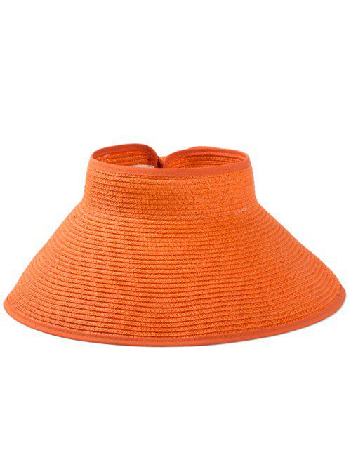 Solid Color Hollow Out Foldable Straw Hat - ORANGE