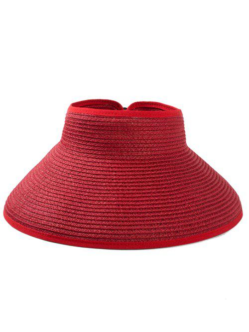 Solid Color Hollow Out Foldable Straw Hat - CHERRY RED