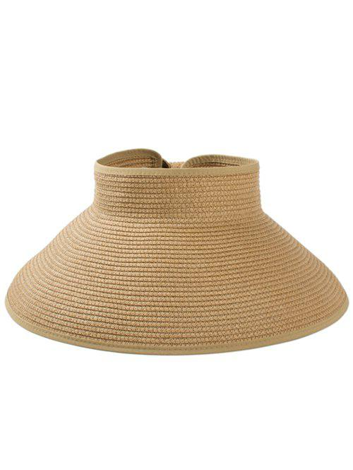 Solid Color Hollow Out Foldable Straw Hat - COOKIE BROWN