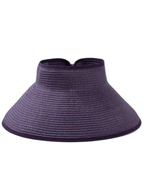 Solid Color Hollow Out Foldable Straw Hat - PURPLE IRIS