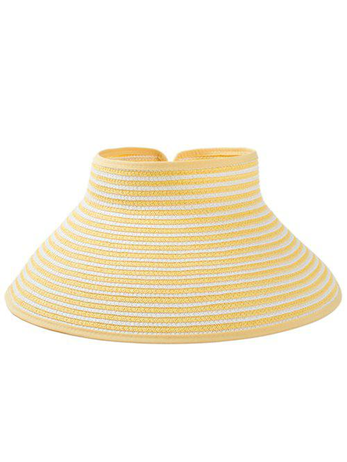 Striped Pattern Hollow Out Foldable Sun Hat - SUN YELLOW