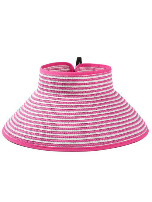 Striped Pattern Hollow Out Foldable Sun Hat - ROSE RED