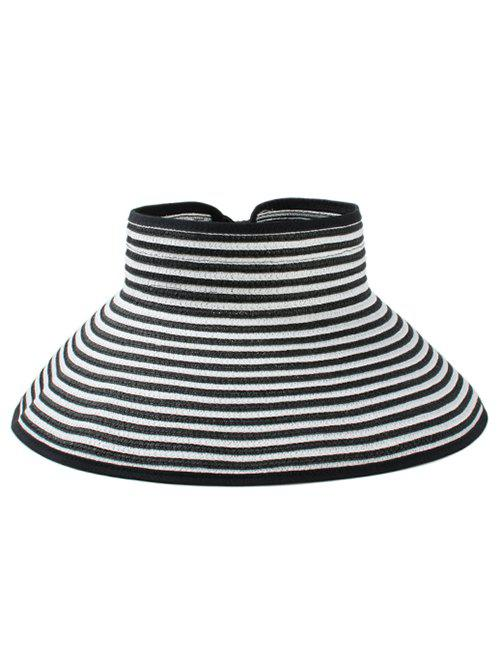 Striped Pattern Hollow Out Foldable Sun Hat - BLACK
