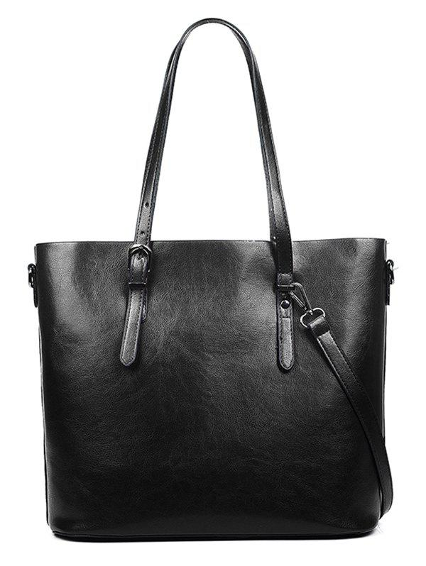 Handy PU Leather Tote Bag with Shoulder Strap - BLACK