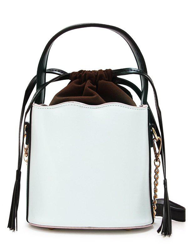 PU Leather Tassel String Bucket Bag - WHITE