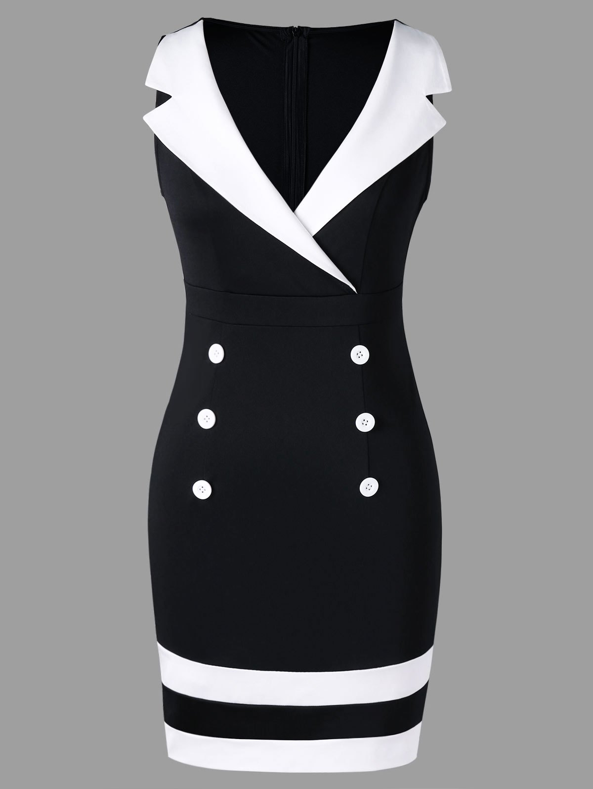 Notched Collar Sleeveless Double Breasted Dress - WHITE/BLACK M