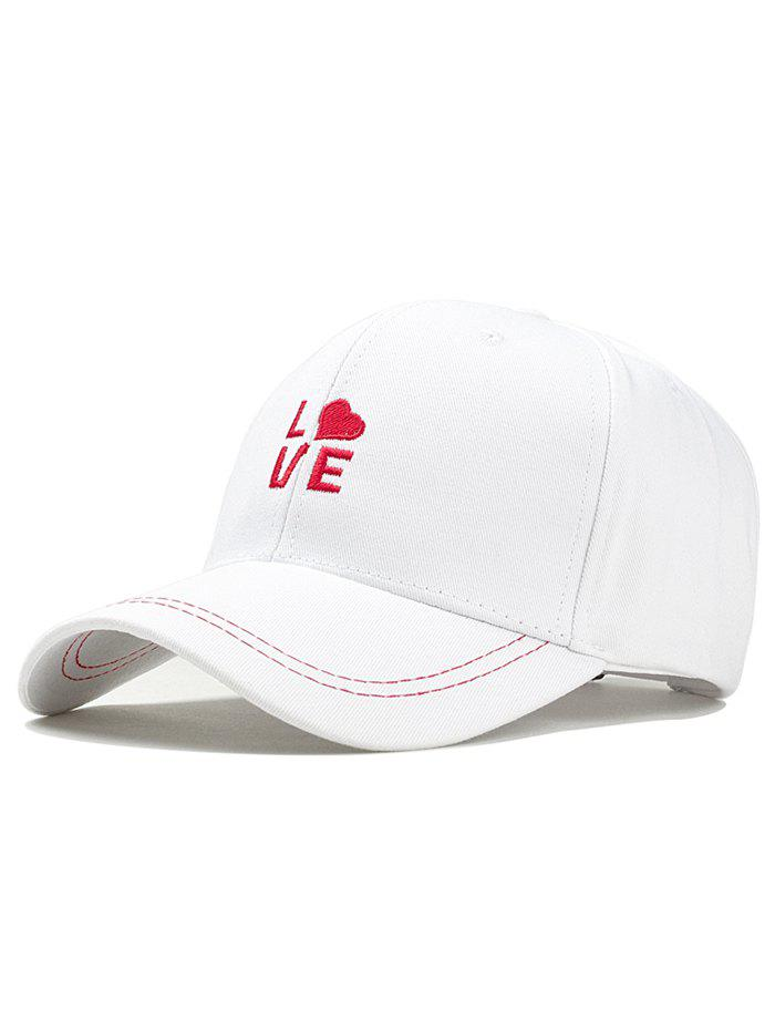 LOVE Embroidery Adjustable Graphic Hat - WHITE