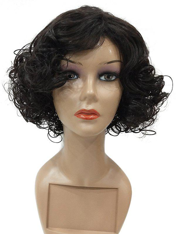 Short Inclined Bang Curly Synthetic Fiber Wig - BLACK