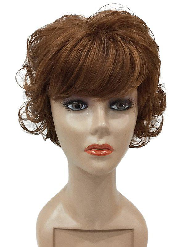 Short Full Fringe Curly Synthetic Wig - BROWN