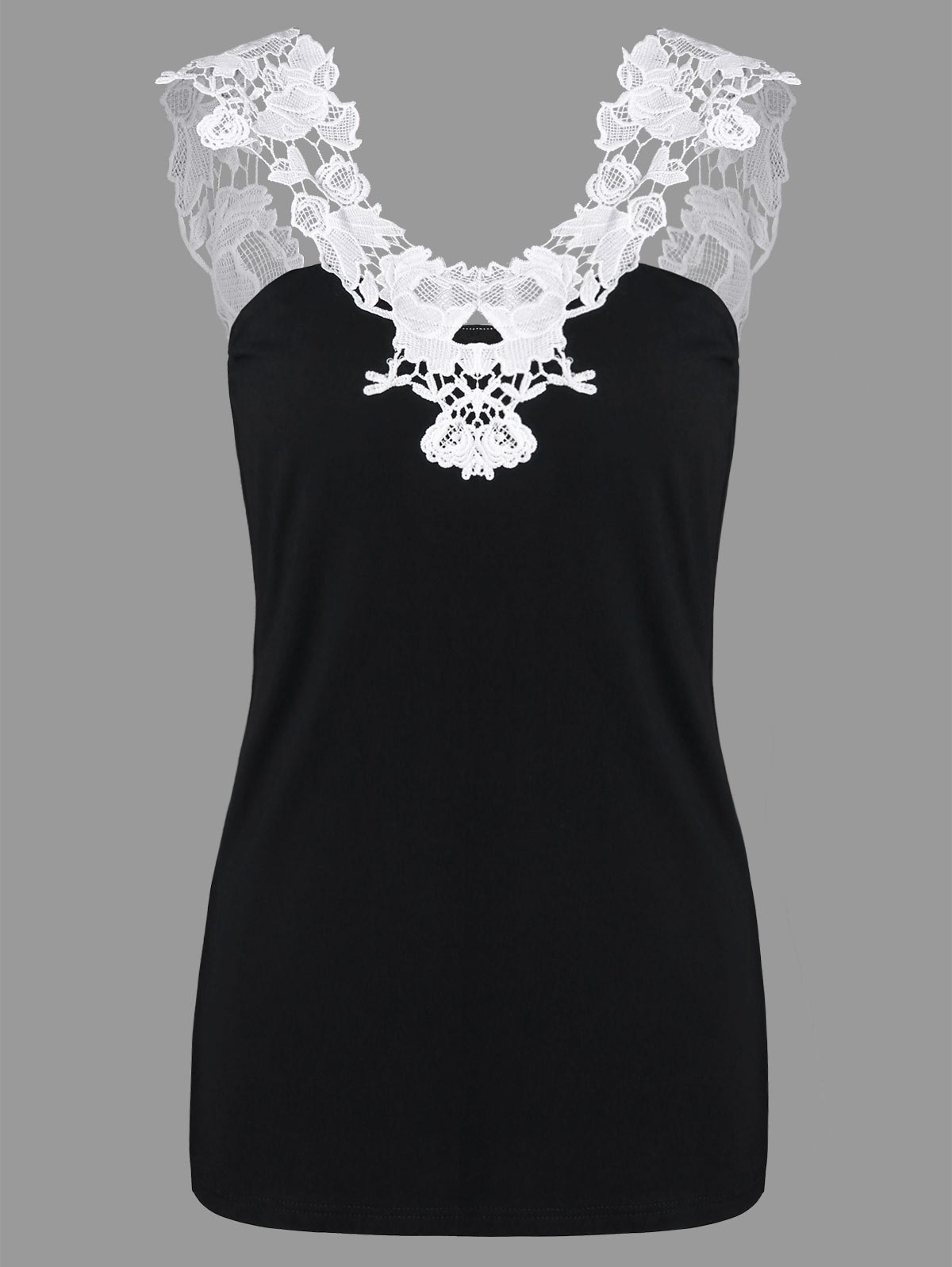 Open Back Lace Panel Tank Top