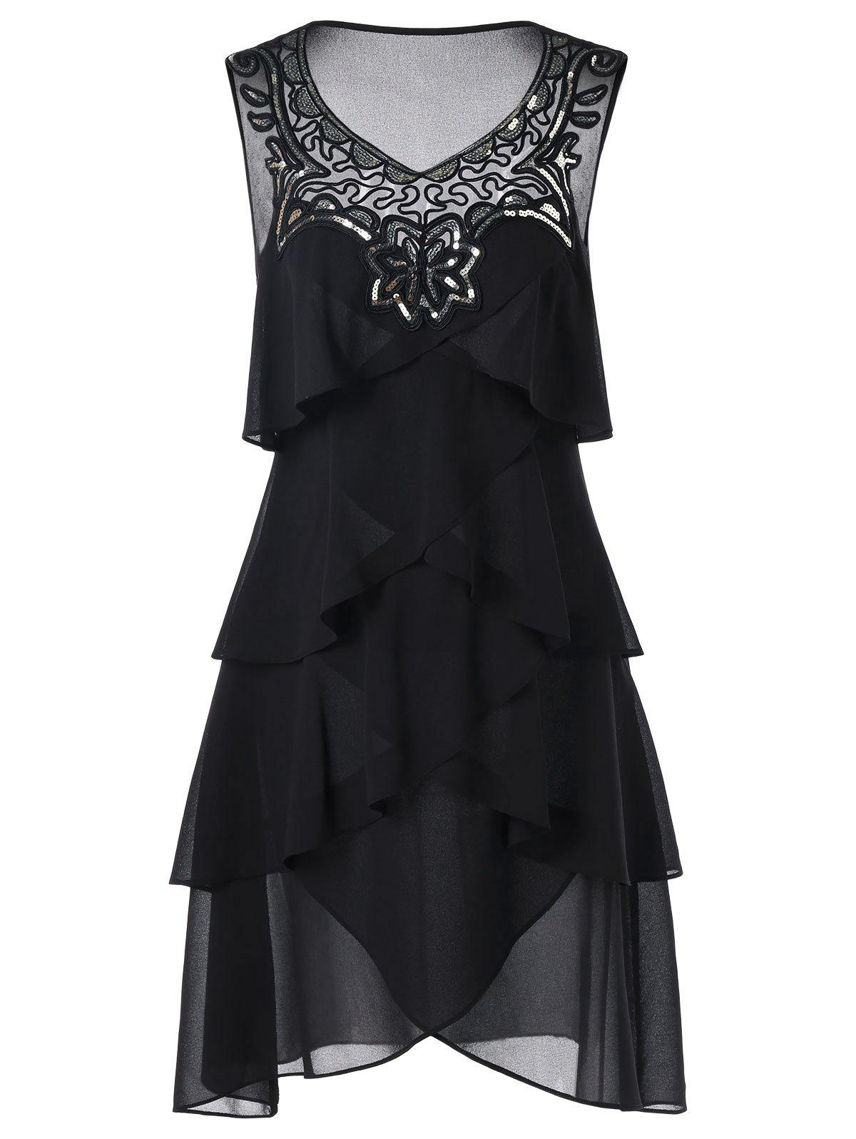 Sleeveless Chiffon Layered Dress - BLACK L