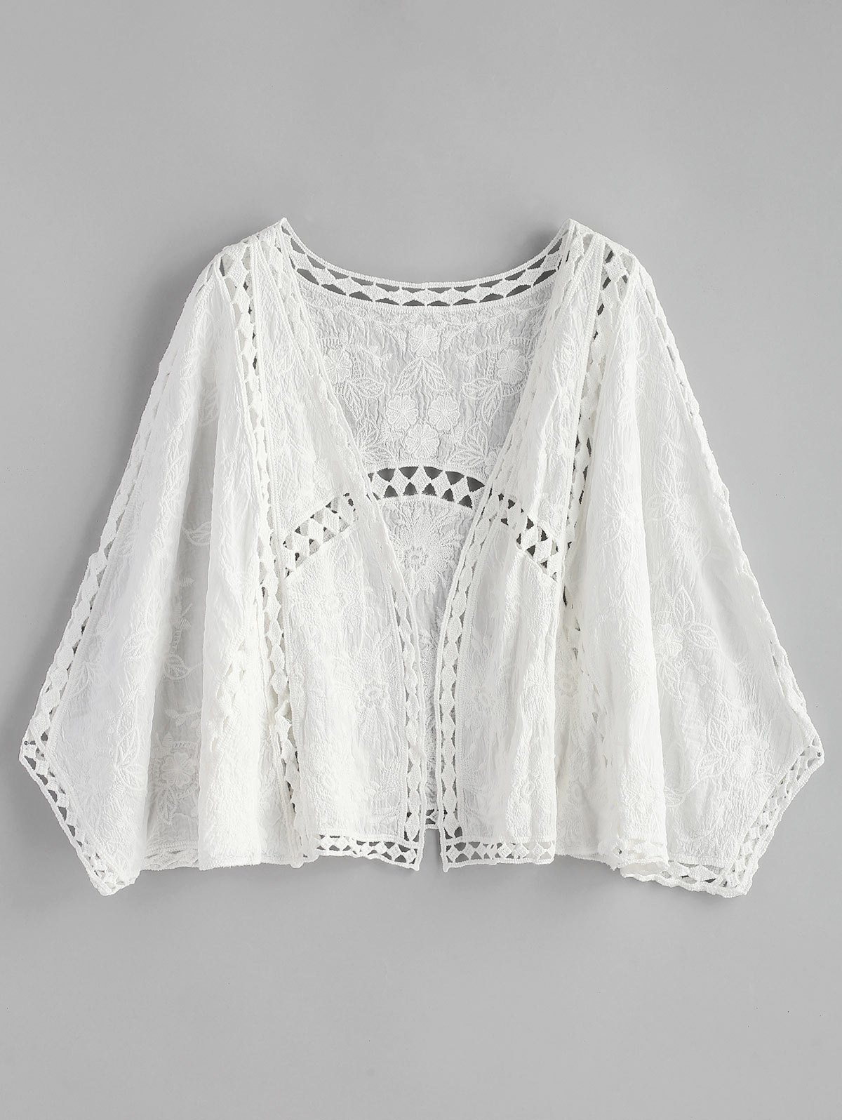 Embroidered Hollow Out Batwing Kimono fringe hem embroidered batwing top