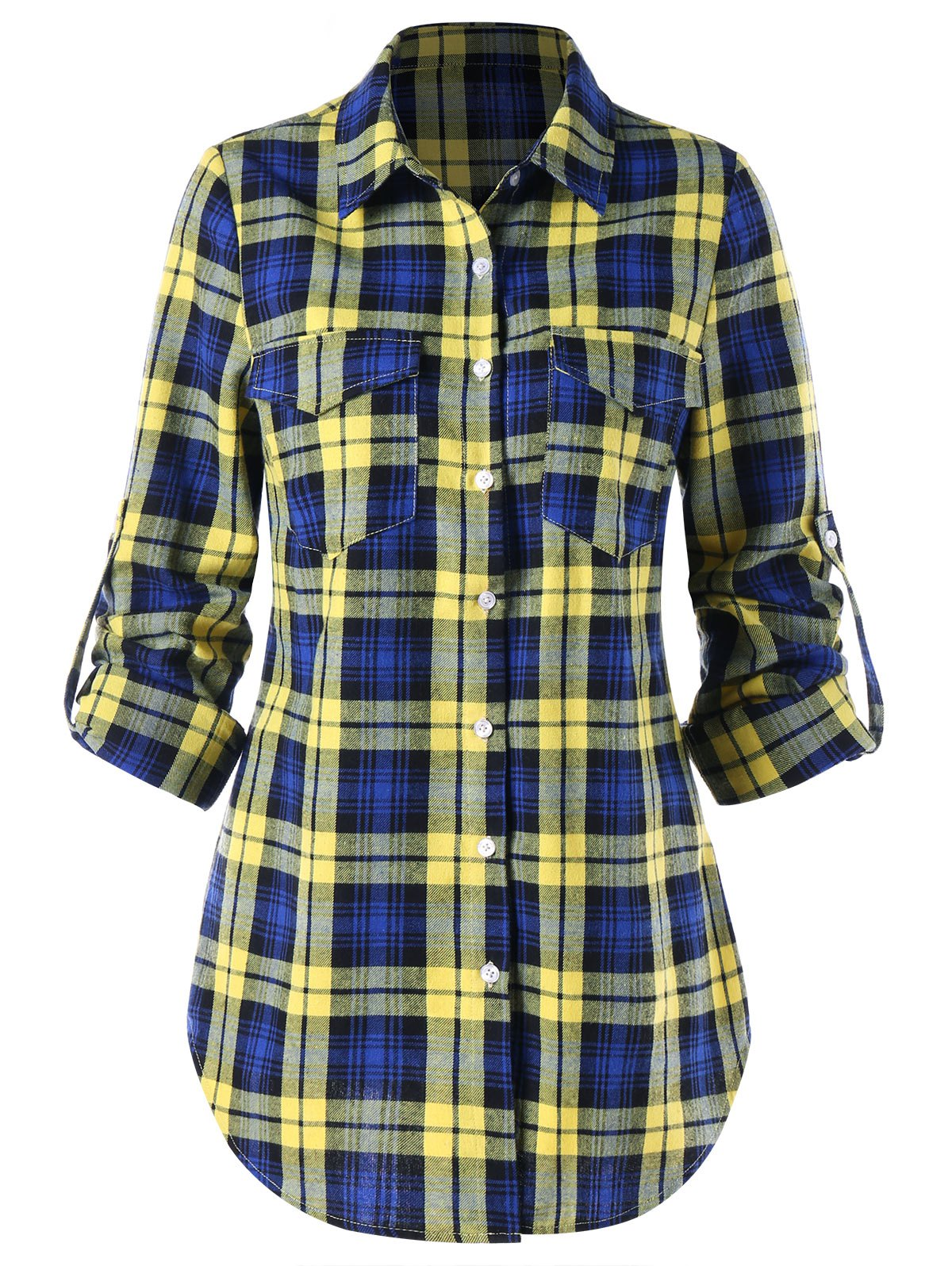 Plaid Button Up Dolphin Hem Shirt - COLORMIX M