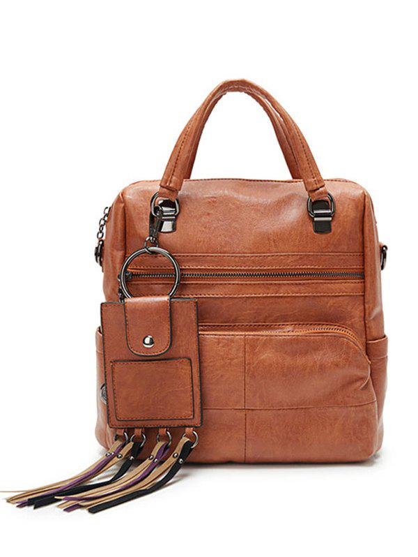Big Capacity PU Leather Multi Pockets Handbag - BROWN