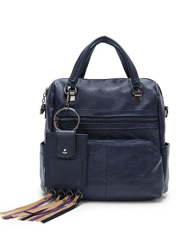 Big Capacity PU Leather Multi Pockets Handbag - STEEL BLUE