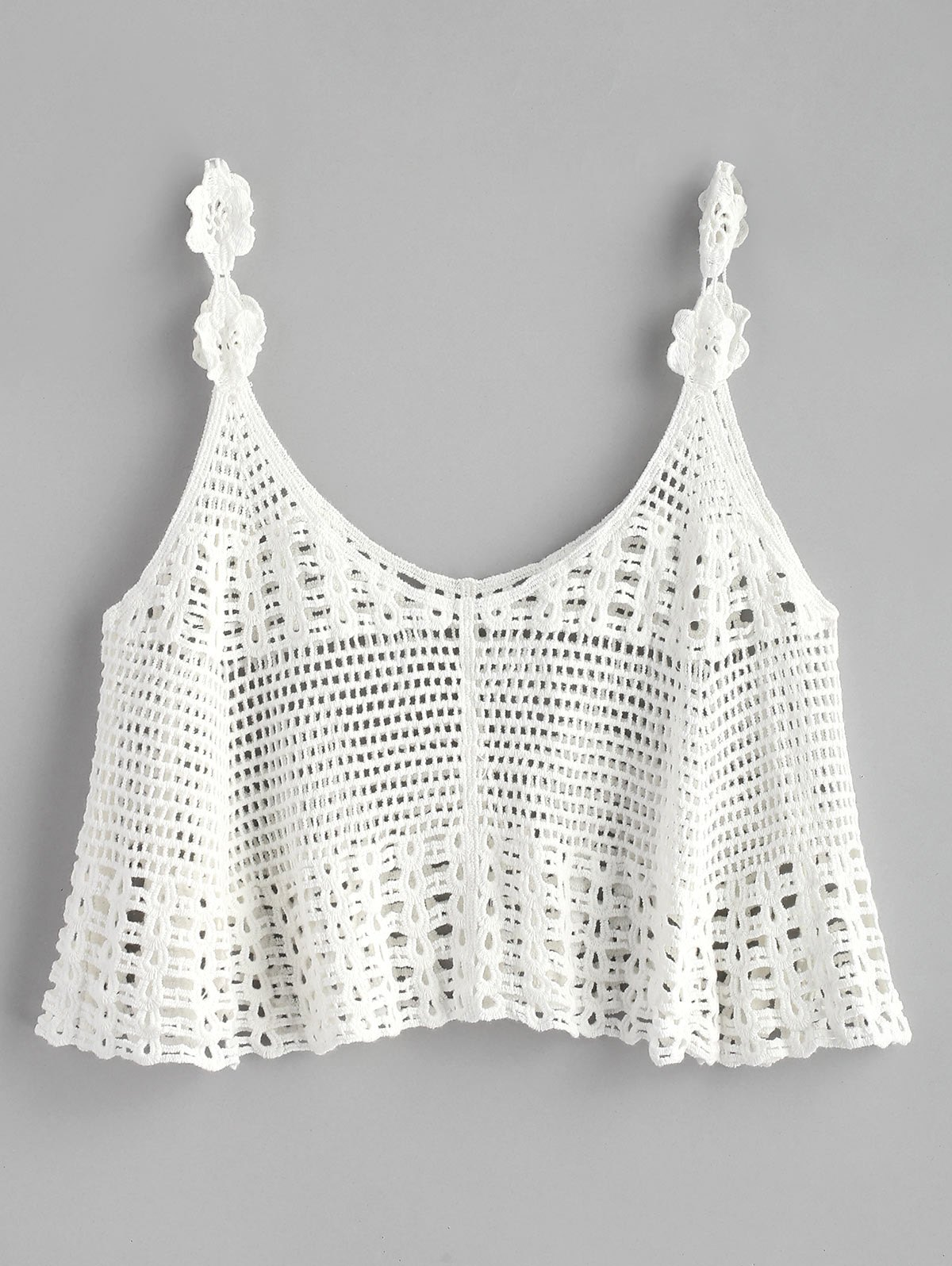 Crochet Cropped Tank - WHITE ONE SIZE