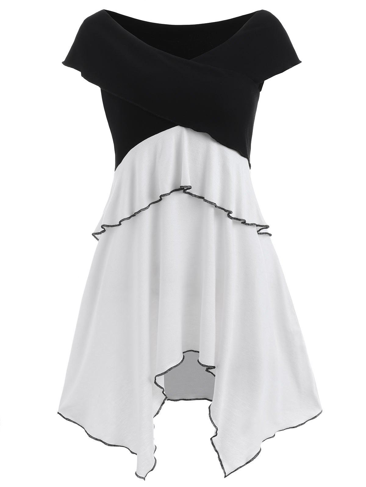 Cross Front Asymmetrical Dress - BLACK XL