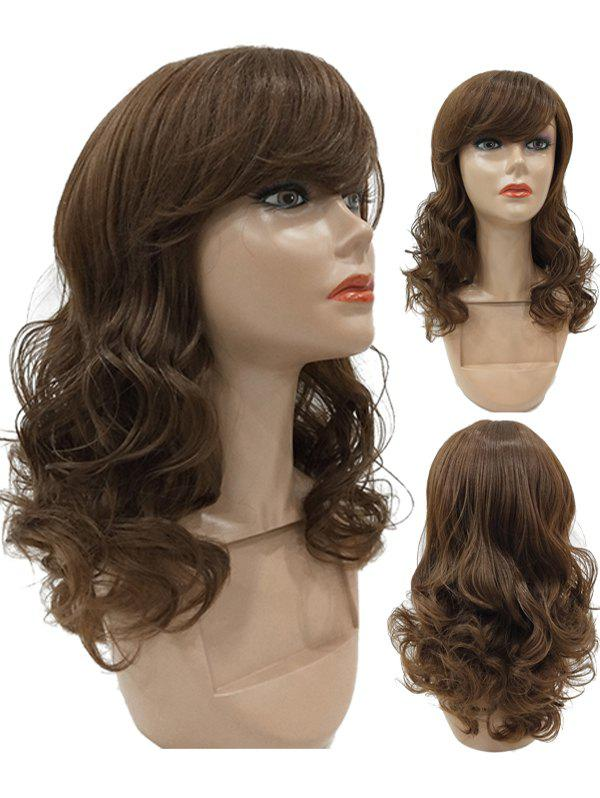 Long Side Fringe Curly Synthetic Wig - BROWN