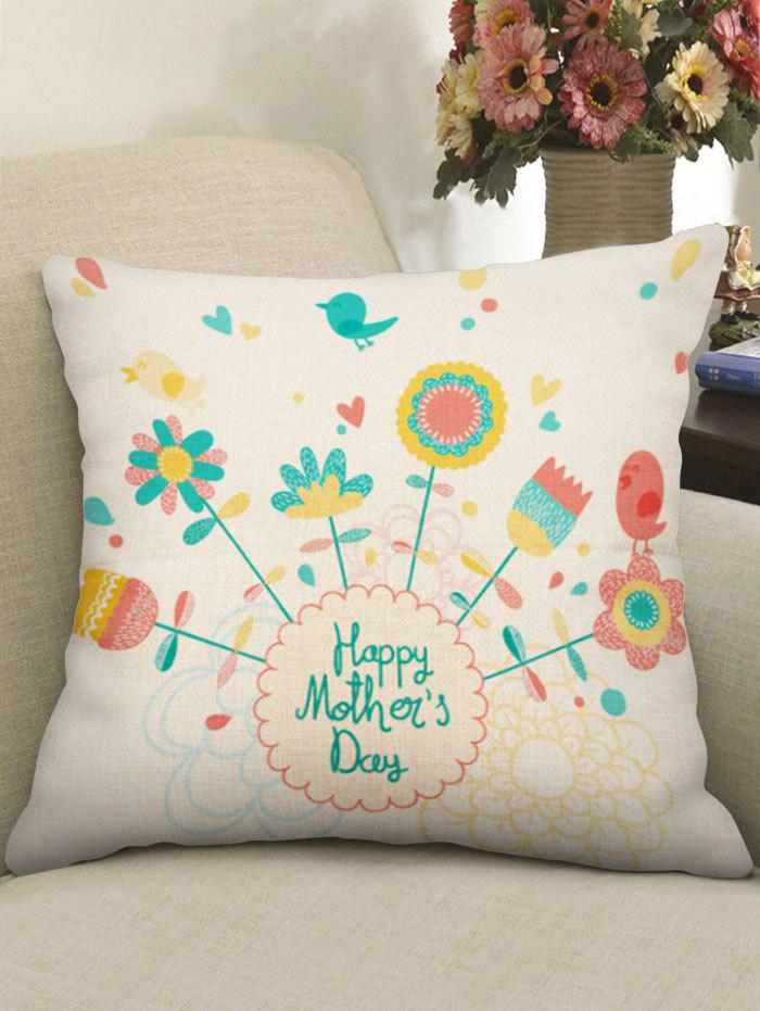 Flowers Print Linen Mother's Day Pillowcase - multicolor W18 INCH * L18 INCH