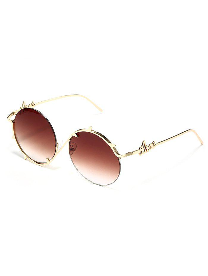 Simple Asymmetric Love Metal Frame Sunglasses - BROWN