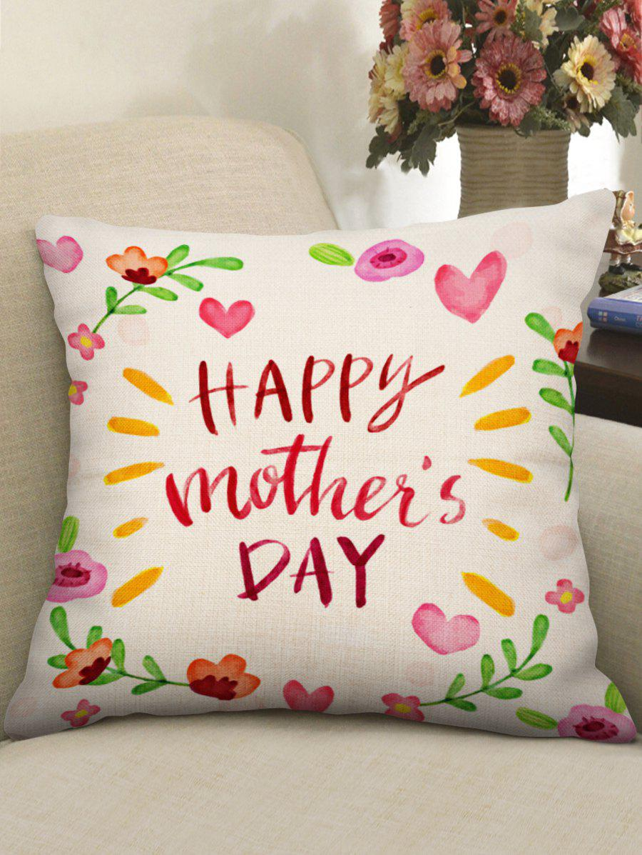 Floral Mother's Day Print Linen Sofa Pillowcase hearts tree print valentine s day linen sofa pillowcase