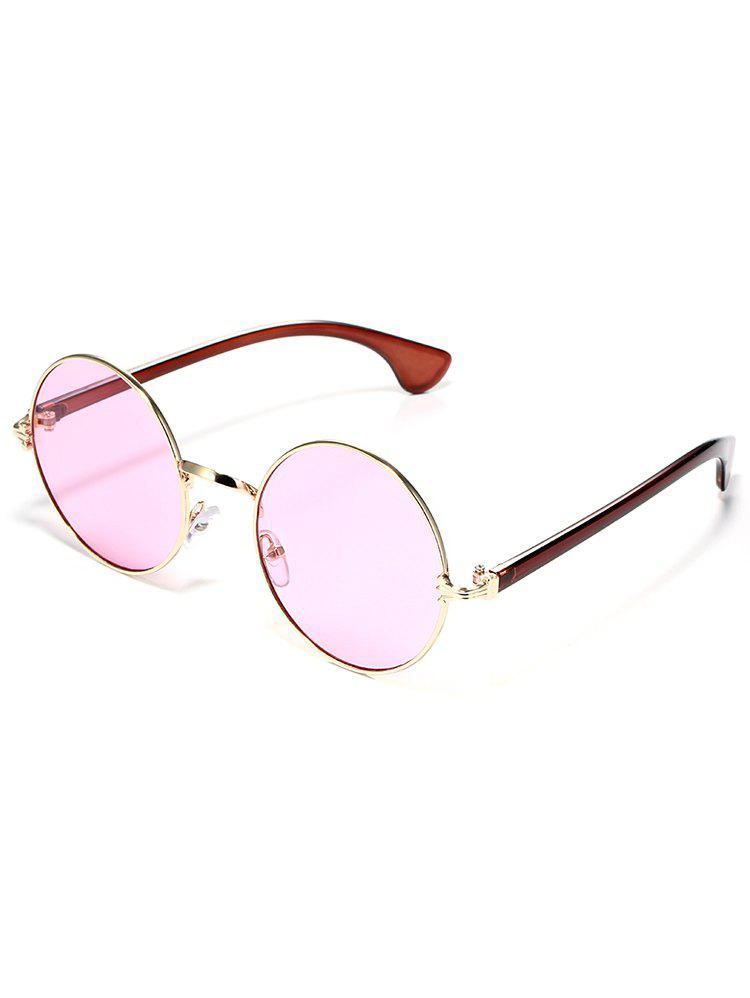 Colorful Metal Frame Mirrored Street Snap Sunglasses - PINK