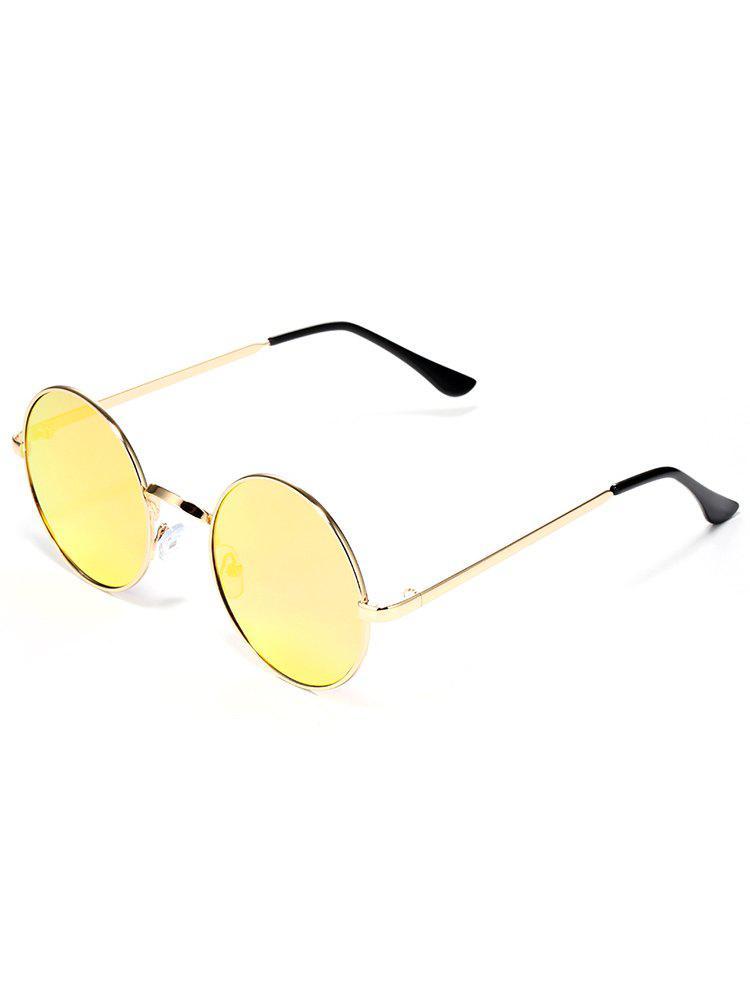 Colorful Metal Frame Mirrored Street Snap Sunglasses - YELLOW