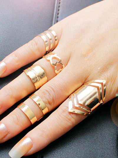Simple Metal Feather Heart Cuff Circle Ring Set трафарет feather circle 1