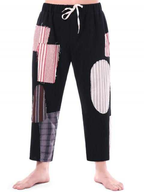 High Waisted Drawstring Patched Ninth Pants
