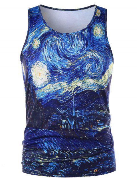 Starry Sky Print Graphic Tank Top - COLORMIX 2XL