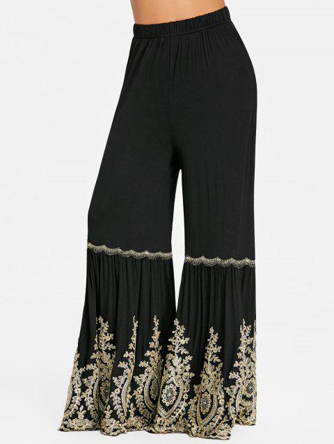 High Rise Applique Wide Leg Flare Pants - BLACK M