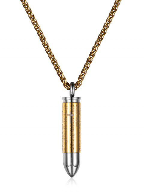 Stainless Steel Engraved Crucifix Ashes Pendant Necklace - GOLD