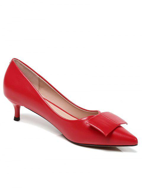 Lanbaoli PU Leather Pointed Toe Bowknot Decor Low Heel Pumps - RED 38