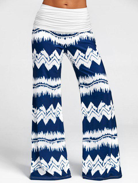 High Waisted Zigzag Print Wide Leg Pants - DARK SLATE BLUE S