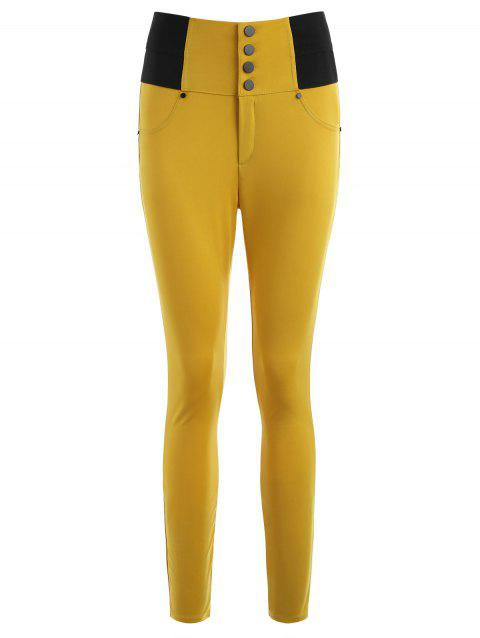 Skinny High-waisted Cigarette Pants - BEE YELLOW M