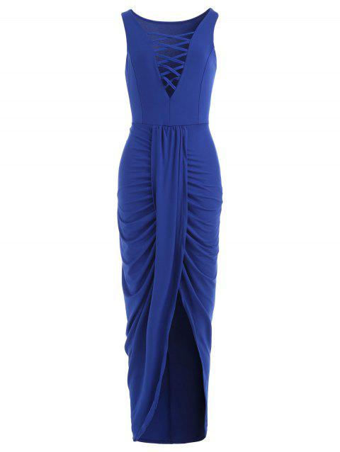 Plunge V-neck Long Draped Dress - ROYAL BLUE L